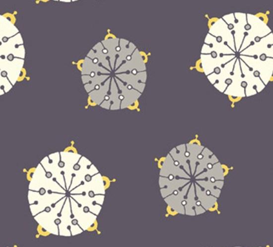 Birch fabric Stoff Robotik Grau mir helgrau gelben sternen