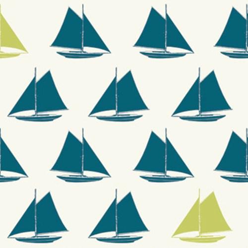 Sailboat Teal Set Sail Birch Fabrics Boxershorts Stoff