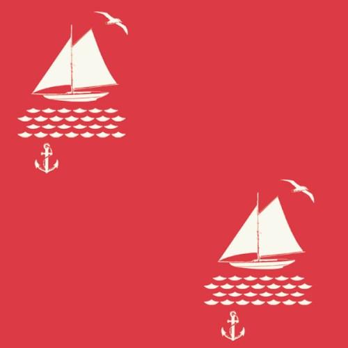 Stoffmuster Birch fabrics Into the sunset Segelboot mit Wellen Anker und Möwe auf rotem Grund