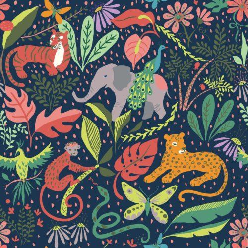 GOTS zertifizierte Stoffe von Monaluna Fabrics Dessin Its A Jungle - erna&gustav Kollektion 2020