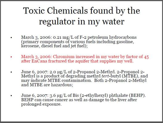 2006 Toxic chemicals found by the regulator in Ernst drinking water