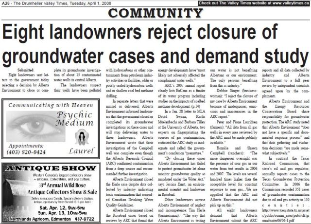 2008 04 01 Eight landowners reject closure of groundwater cases and demand study The Drumheller Valley Times