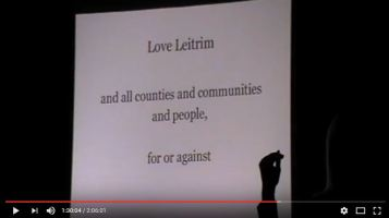 2012 Ernst pesentation in Glenfarne, R Ireland, Love Leitrim and all counties and communities and people, for and against'