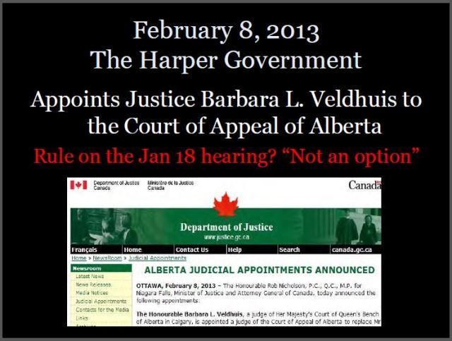 2013 02 08 Harper govt appoints Justice Veldhuis to Court of Appeals Alberta