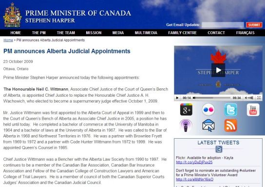 2009 10 23 PM Harper announces Alberta Judicial Appointments