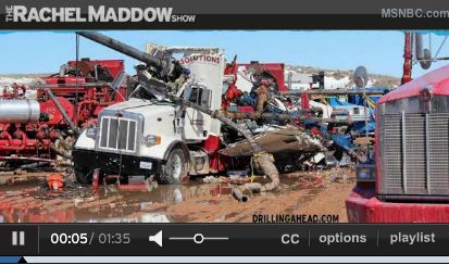2013 03 29 Rachel Maddow Show Frac Stack Blows and Launches into Frac Truck close up