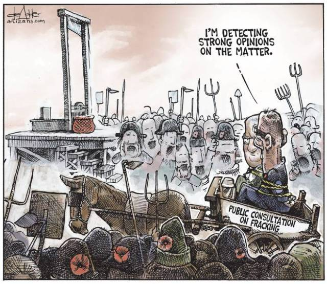 2014 07 28 Chronicle Herald Editorial Cartoon Public consultation on fracing