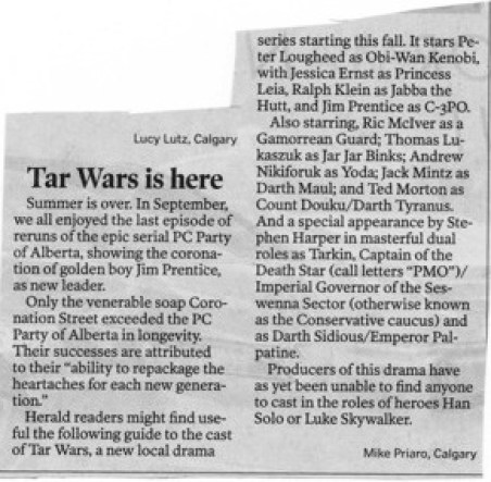 2014 09 29 Tar Wars is here by Mike Priaro in News Calgary Herald
