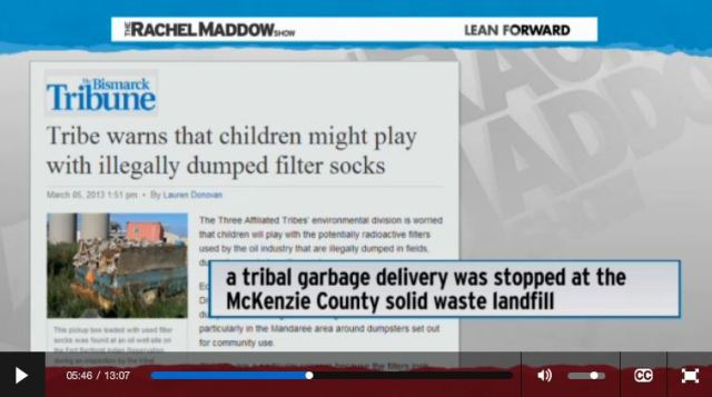 2014 03 14 Radioactive waste illegally dumped in North Dakota Rachel Maddow show Frackings Radioactive Sock Hop dump children might play with