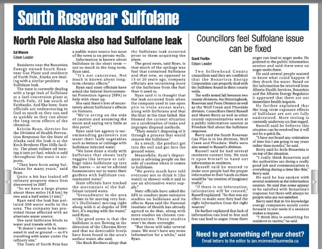 2014 04 07 North Pole Alaska Sulfolane Leak, Councilors feel Sulfolane Leaks can be fixed, but what if you're already poisoned