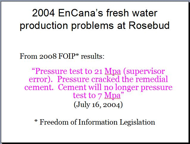 2004 Encana's fresh water production problems on 5-14-27-22-W4M at Rosebud