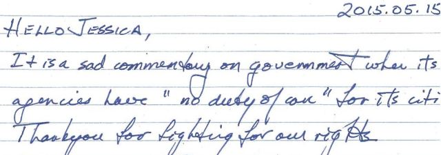 2015 05 15 Donation note, sad when govt agenices have 'no duty of care'