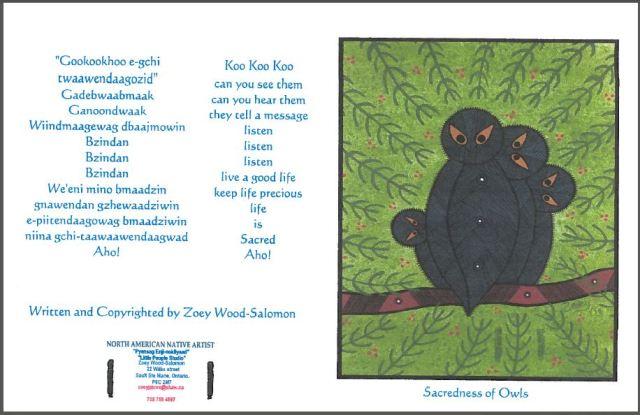 2015 08 10 Sacredness of Owls donation card