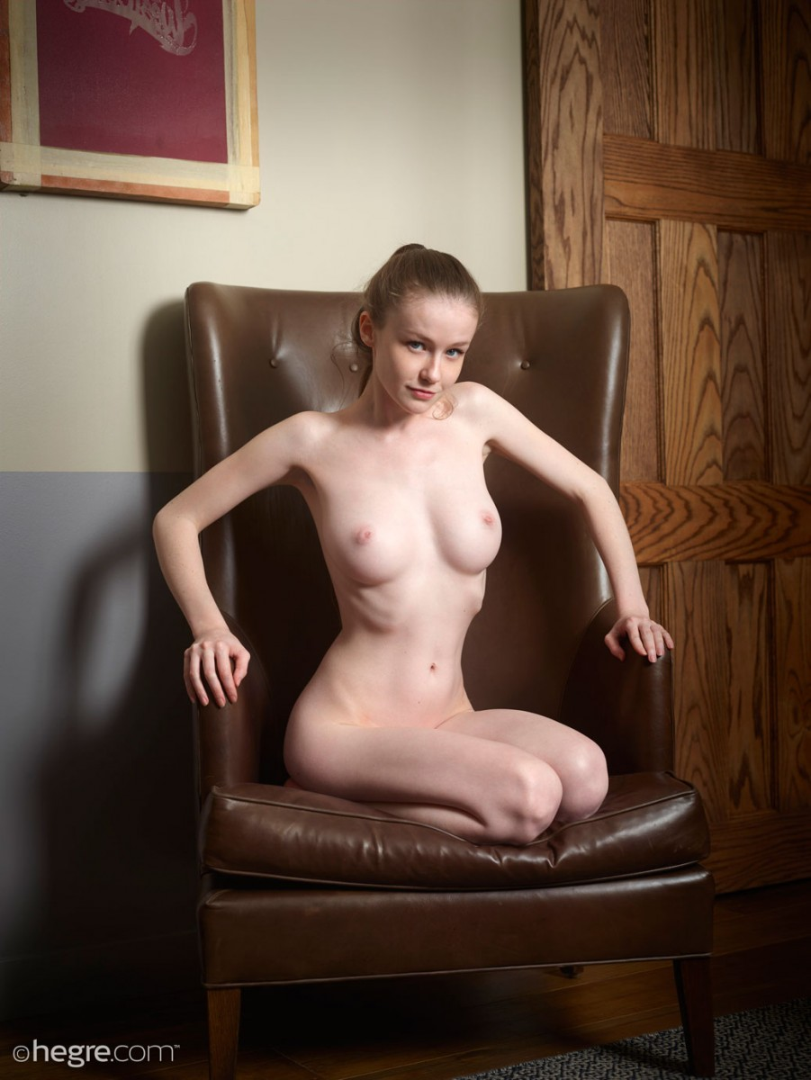 Emily Bloom #Naked In A Leather Chair 6