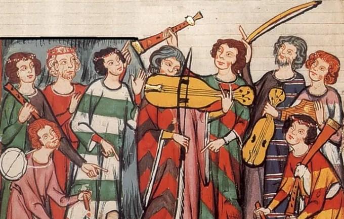 Trovatori e trovieri, una miniatura medievale