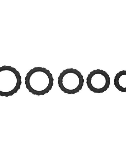 Romant Lock silikónové erekčné krúžky 5 ks - čierne