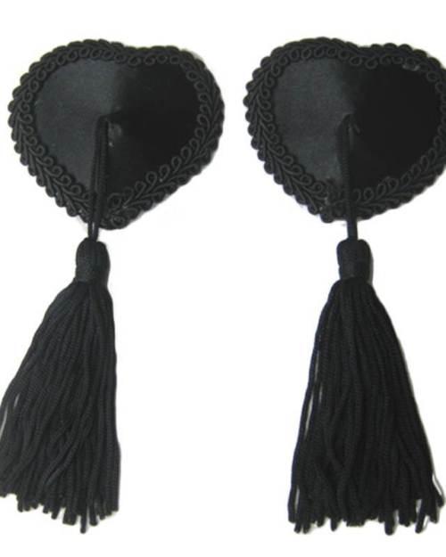 Wanita ozdoby na bradavky srdce so strapcami čierne