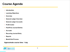 General Ledger in SAP: Training Presentation