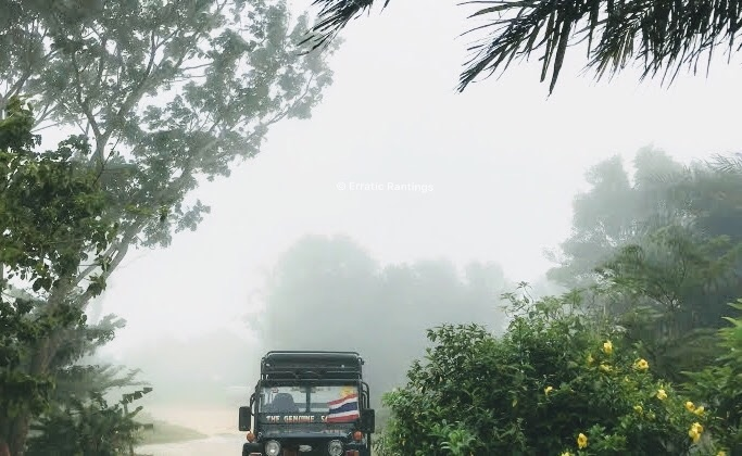 This is from our trip to Na Mueang waterfall on a 4x4. We had some amazing off-roading experience. It got all misty by the end of the afternoon .