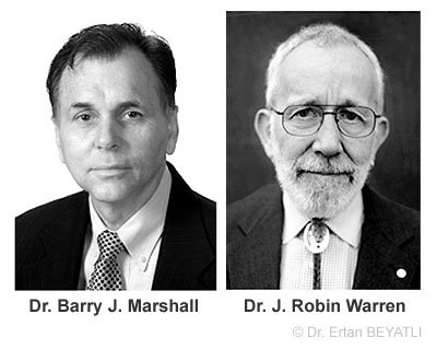Dr. Barry J. Marshal ve Dr. J. Robin Warren, Helicobacter pylori bakterisini buldu