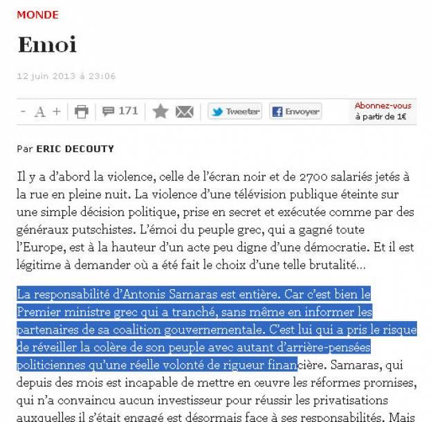 Ο Α. Σαμαράς έχει την πλήρη ευθύνη για την ΕΡΤ γράφει η Liberation