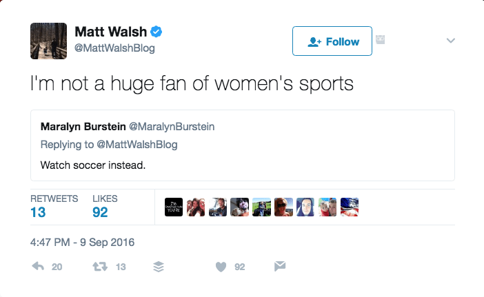 Matt Walsh tweet screencap.
