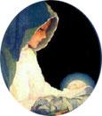 Dios Niño dormía seguro en brazos de María