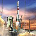 Impresión artística de un lanzamiento Soyuz en la Guayana Francesa