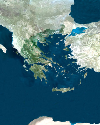 Greece and the Aegean Sea, mosaic image from European Space Agencys MERIS Satellite
