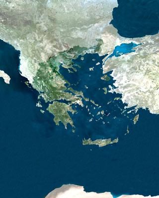 Greece and the Aegean Sea, mosaic image from European Space Agencys MERIS Satellite
