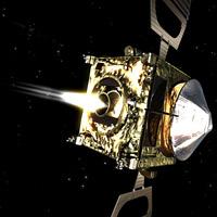 Venus Express firing its main engine in space. (Courtesy ESA).