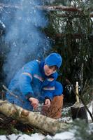 ESA astronaut Samantha Christoforetti starting a fire