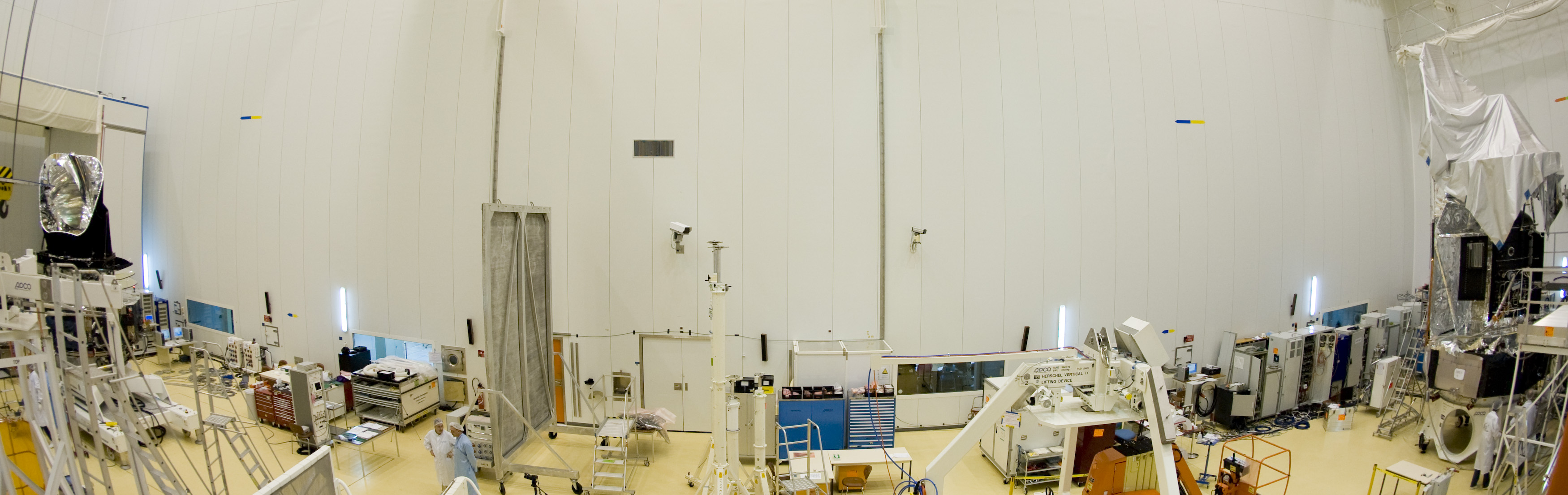 Herschel and Planck in the clean room at Kourou.