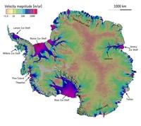 Hoja de hielo de la Antártida velocidad