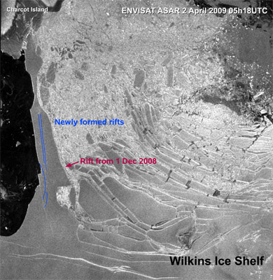ESA 2009-04-03 Wilkins Ice Shelf