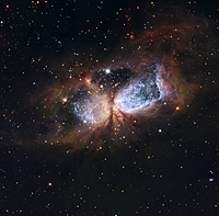 Hubble/Subaru composite of star-forming region S 106
