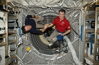 Paolo and Roberto inside the ATV-2