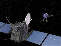 Artist's impression of the Rosetta orbiter and lander