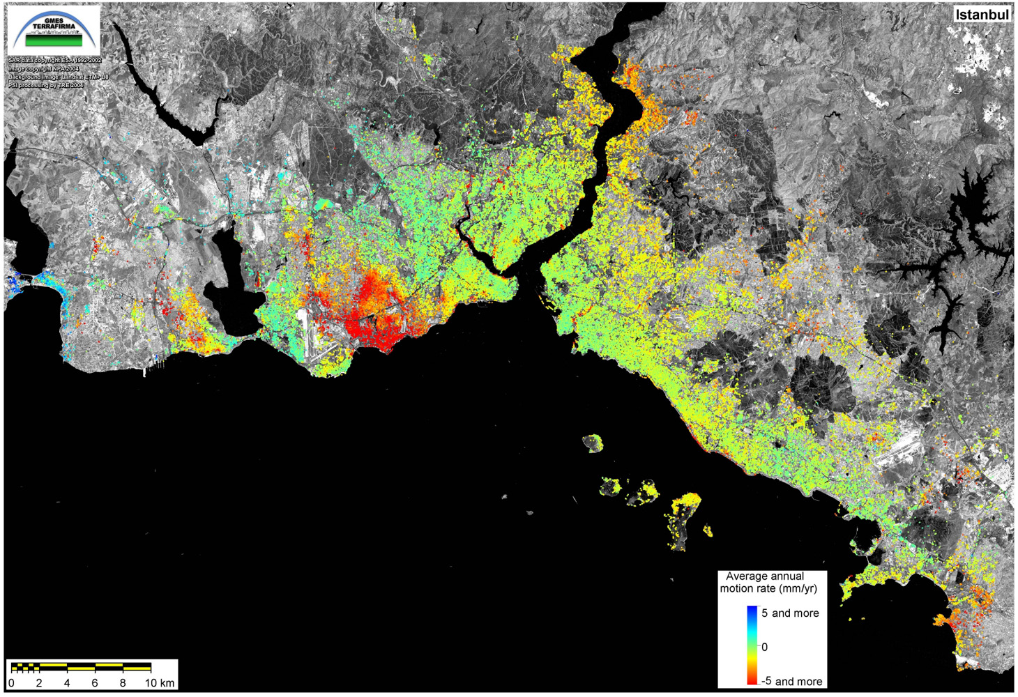 Space in Images   2006   08   Subsidence map of Istanbul  687 40 kB