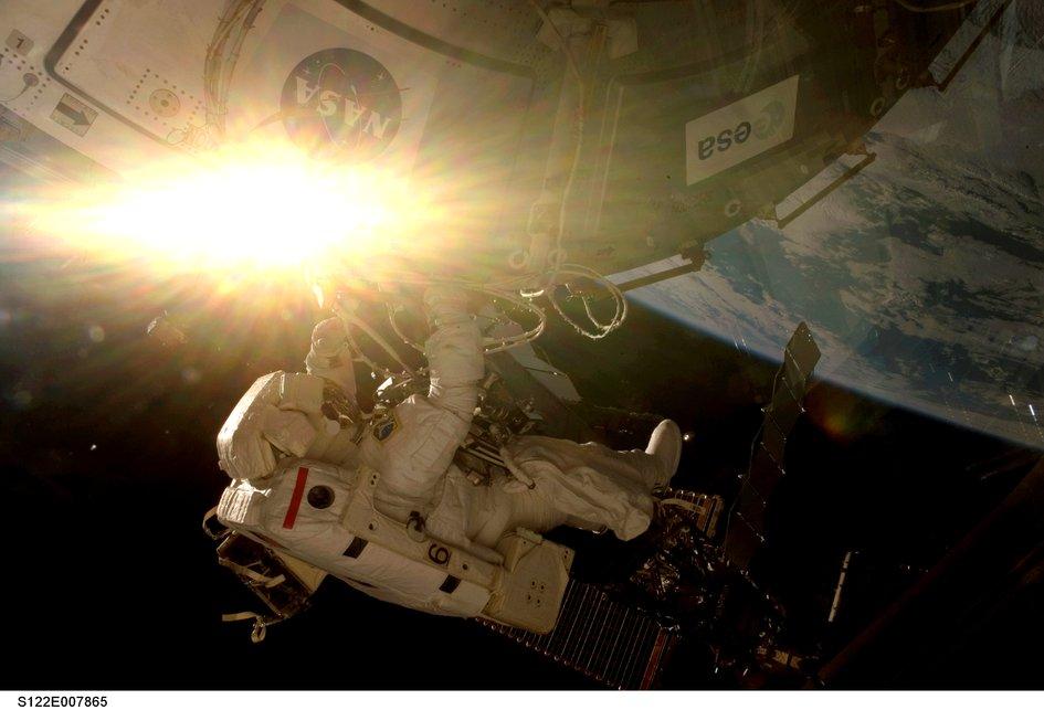 Columbus installation first spacewalk