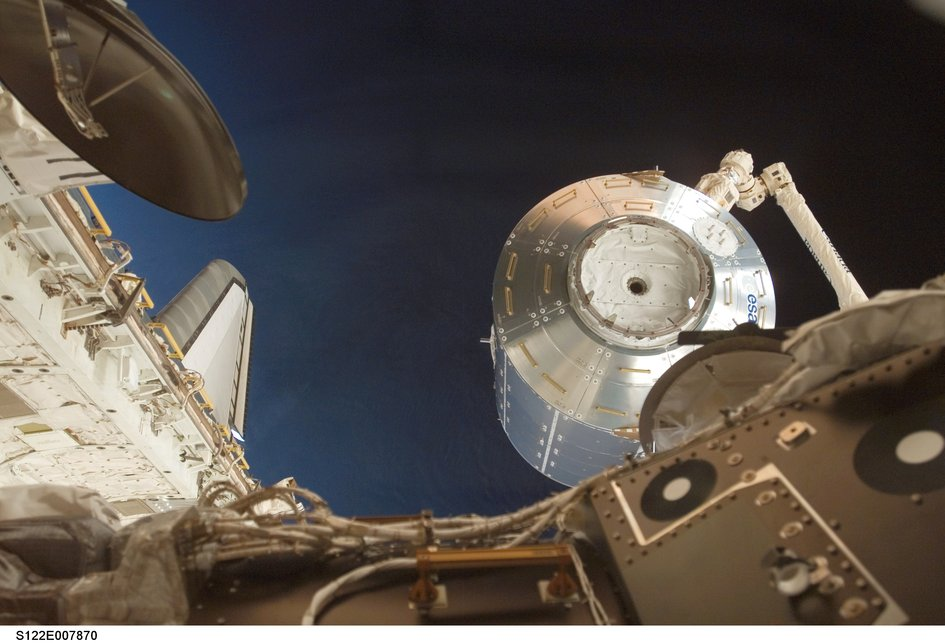 Columbus laboratory moved into place with Canadarm2