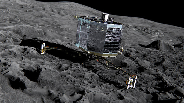 Artist's impression of Rosetta's lander Philae (front view) on the surface of comet 67P/Churyumov-Gerasimenko. Philae will be deployed to the comet in November 2014 where it will make in situ observations of the comet surface, including drilling 23cm into the subsurface to extract material for analysis in its on board laboratory.