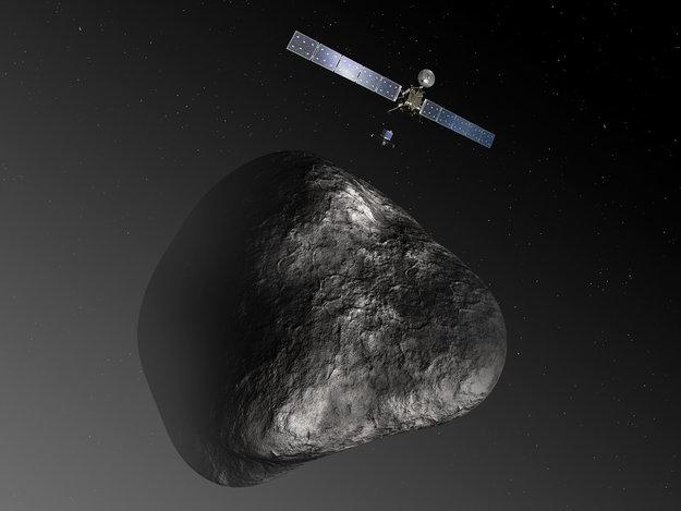 Concepto artístico de la sonda Rosetta en su encuentro con el cometa 67P/Churyumov-Gerasimenko