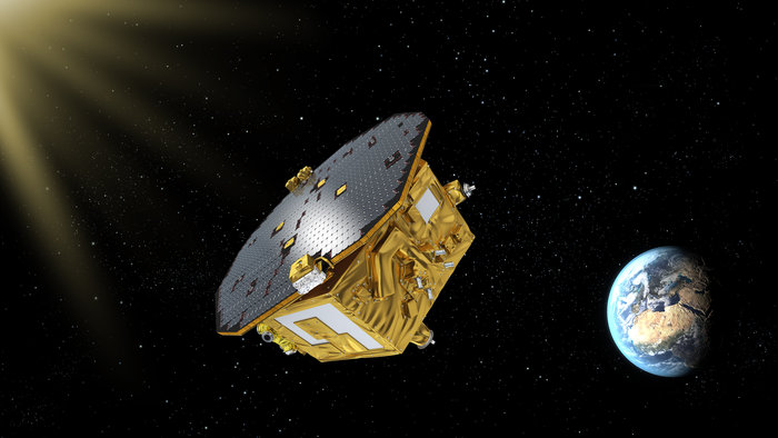 Artist's impression of LISA Pathfinder, ESA's mission to test technology for future gravitational-wave observatories in space.  LISA Pathfinder will operate from a vantage point in space about 1.5 million km from Earth towards the Sun, orbiting the first Sun–Earth Lagrangian point, L1.