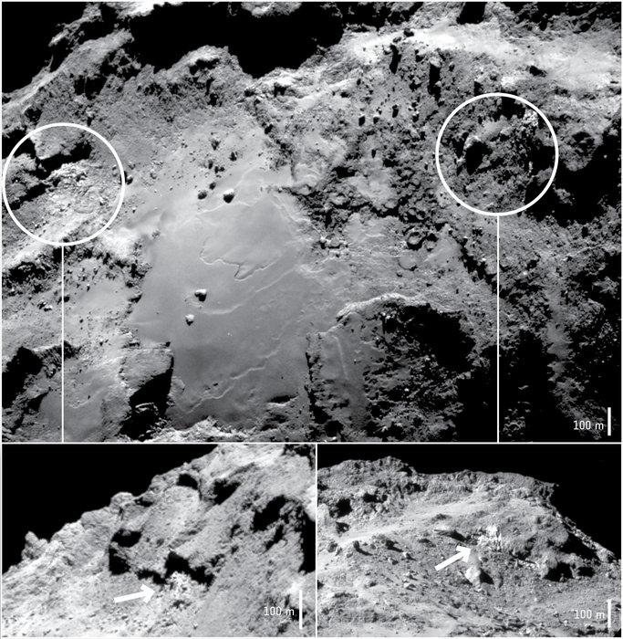 Two exposures of water ice identified by Rosetta's VIRTIS instrument in the Imhotep region of Comet 67P/Churyumov–Gerasimenko in September–November 2014.