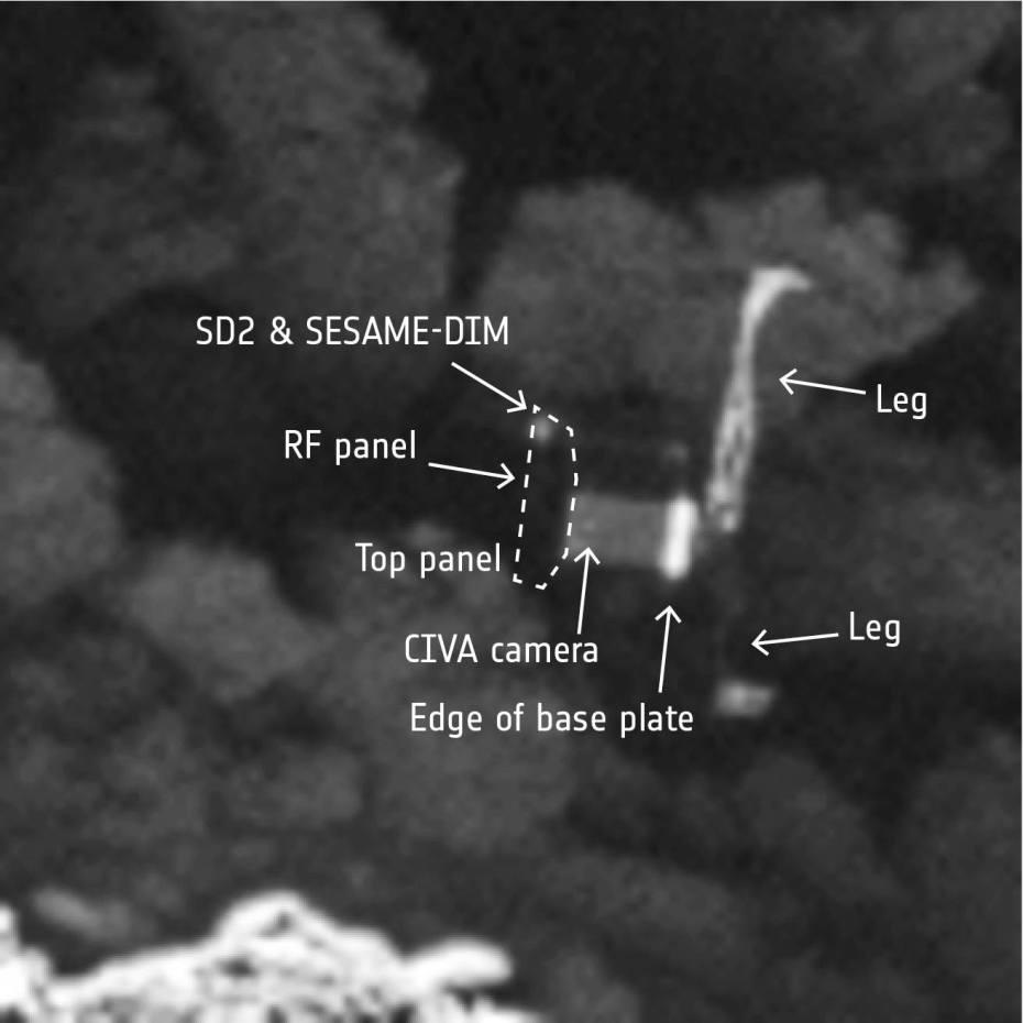 Κοντινό στιγμιότυπο του Philae, με περιγραφή των μερών του