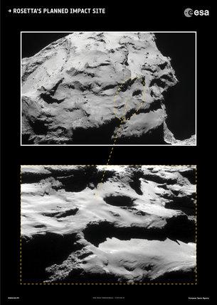 Lugar previsto para el impacto de Rosetta