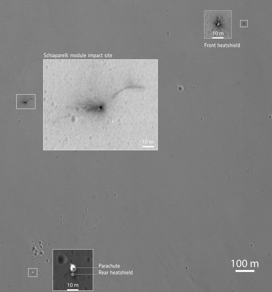 Zooming in on Schiaparelli components on Mars