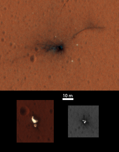 Composite of the ExoMars Schiaparelli module elements seen by NASA's Mars Reconnaissance Orbiter High Resolution Imaging Science Experiment (HiRISE) on 1 November 2016. Both the main impact site (top) and the region with the parachute and rear heatshield (bottom left) are now captured in the central portion of the HiRISE imaging swath that is imaged through three different filters, enabling a colour image to be constructed. The front heatshield (bottom right) lies outside the central colour imaging swath.