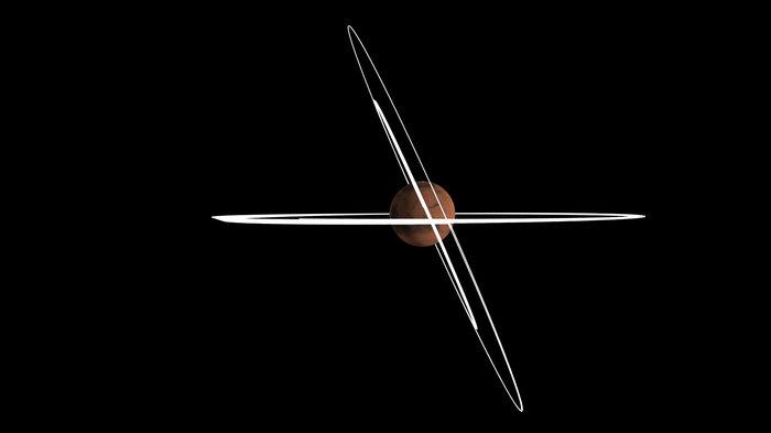 Este diagrama muestra el cambio en el ángulo de inclinación de la órbita de la nave TGO antes y después de la maniobra. Crédito: ESA/C. Carreau.